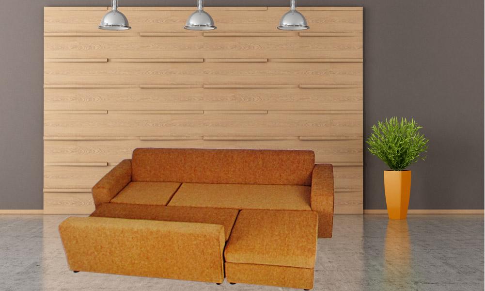 Σαλόνι γωνία διάταξη σε κρεβάτι
