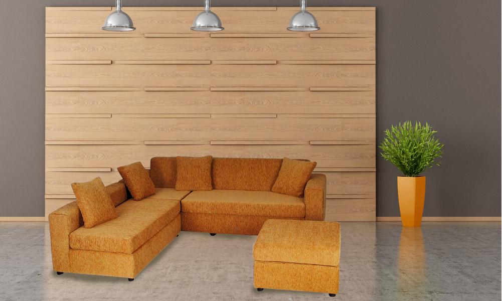 Σαλόνι γωνία κρεβάτι 230x190cm, σκαμπό 60x60cm